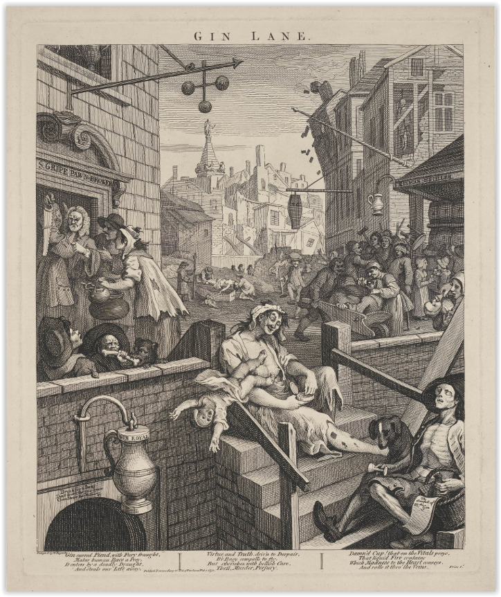 An etching depicting a busy street scene with pawn brokers and gin shops. People are fighting dogs for food, drinking even when showing signs of starvation and giving drink to children. In the foreground, a half-dressed, drunken woman is in the act of dropping her baby